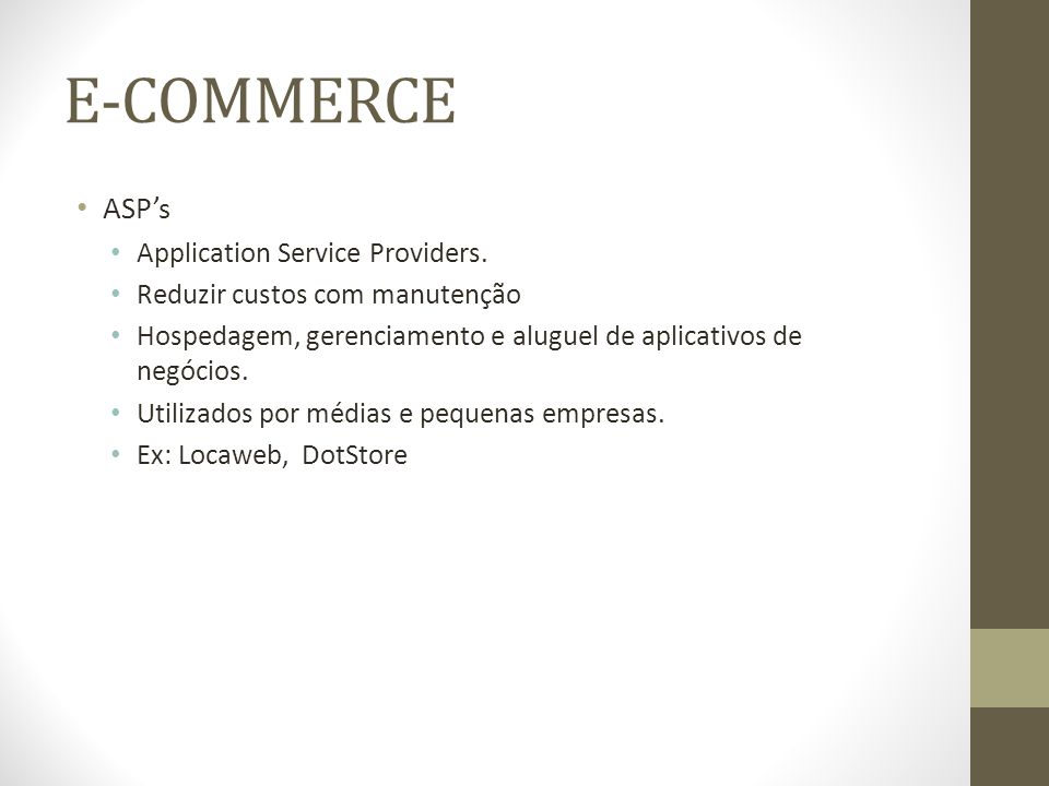 E-COMMERCE ASP's Application Service Providers.