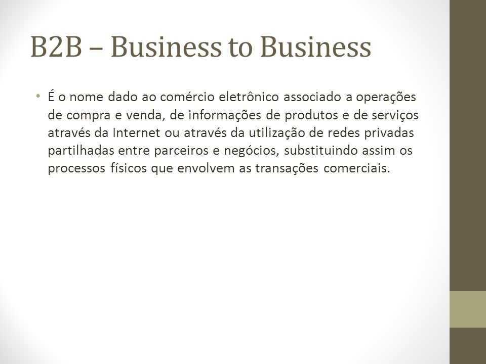 B2B – Business to Business