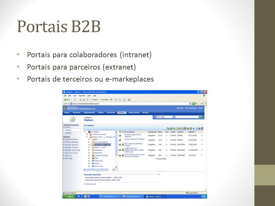 Portais B2B Portais para colaboradores (intranet)
