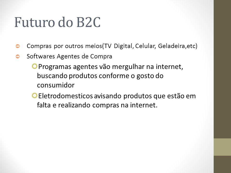 Futuro do B2C Compras por outros meios(TV Digital, Celular, Geladeira,etc) Softwares Agentes de Compra.