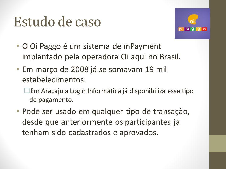 Estudo de caso O Oi Paggo é um sistema de mPayment implantado pela operadora Oi aqui no Brasil.