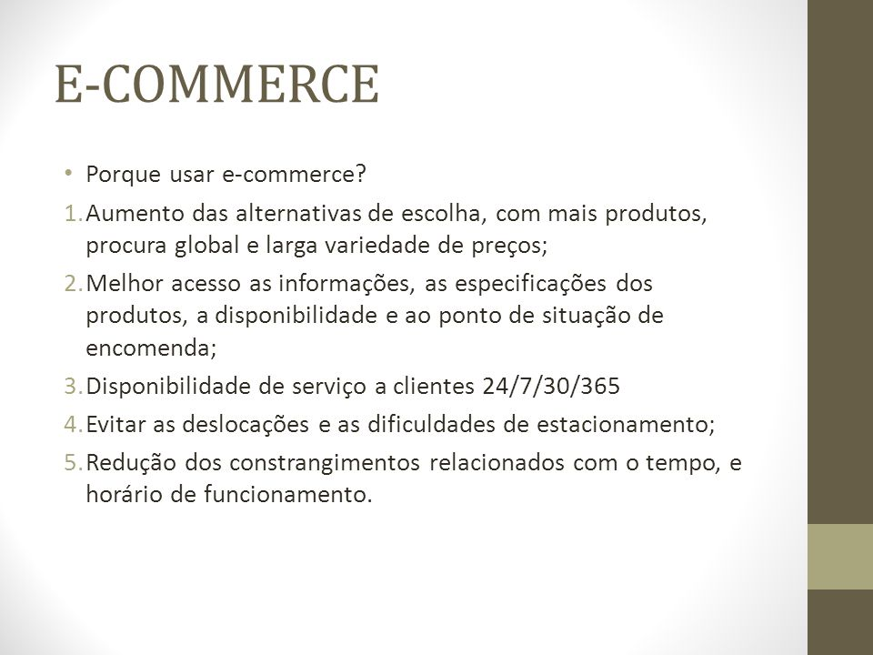 E-COMMERCE Porque usar e-commerce