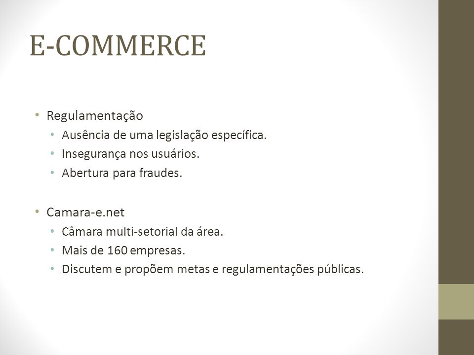 E-COMMERCE Regulamentação Camara-e.net