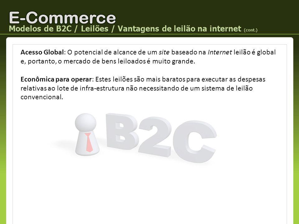 Modelos de B2C / Leilões / Vantagens de leilão na internet (cont.)
