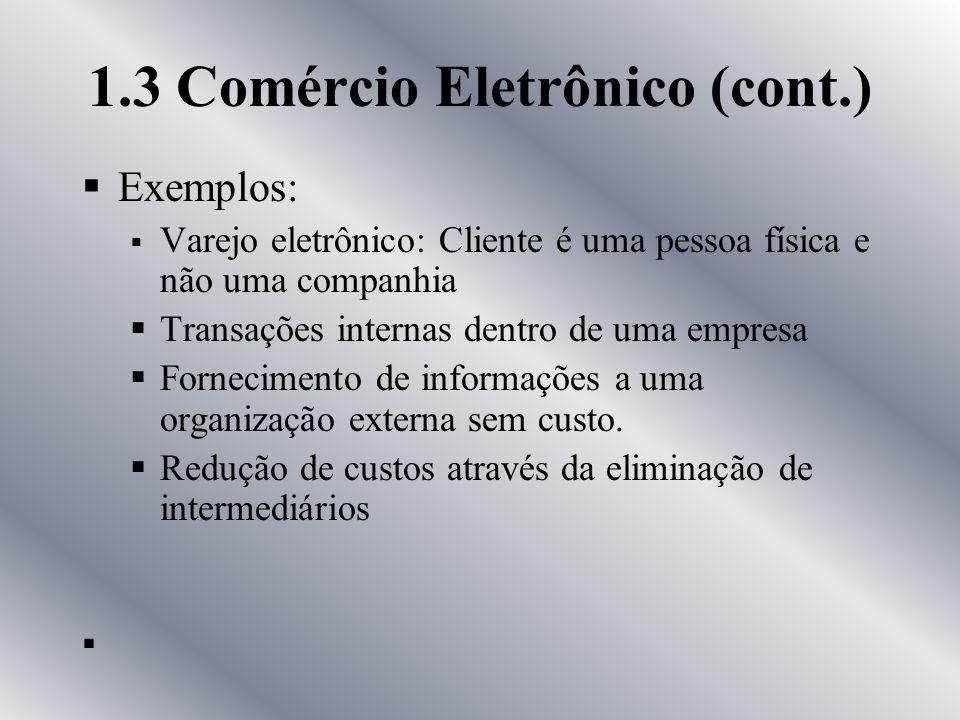 1.3 Comércio Eletrônico (cont.)