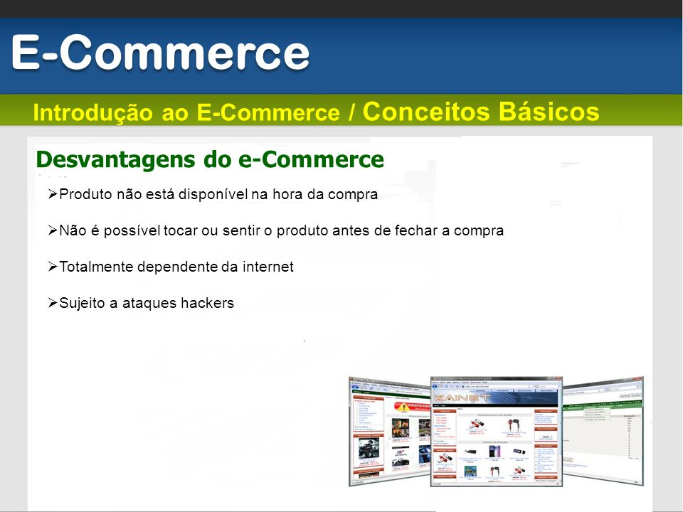 Desvantagens do e-Commerce