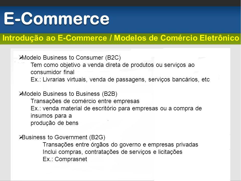 E-Commerce Introdução ao E-Commerce / Modelos de Comércio Eletrônico