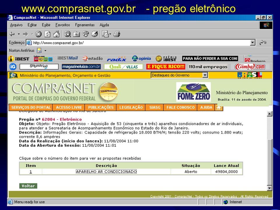 www.comprasnet.gov.br - pregão eletrônico
