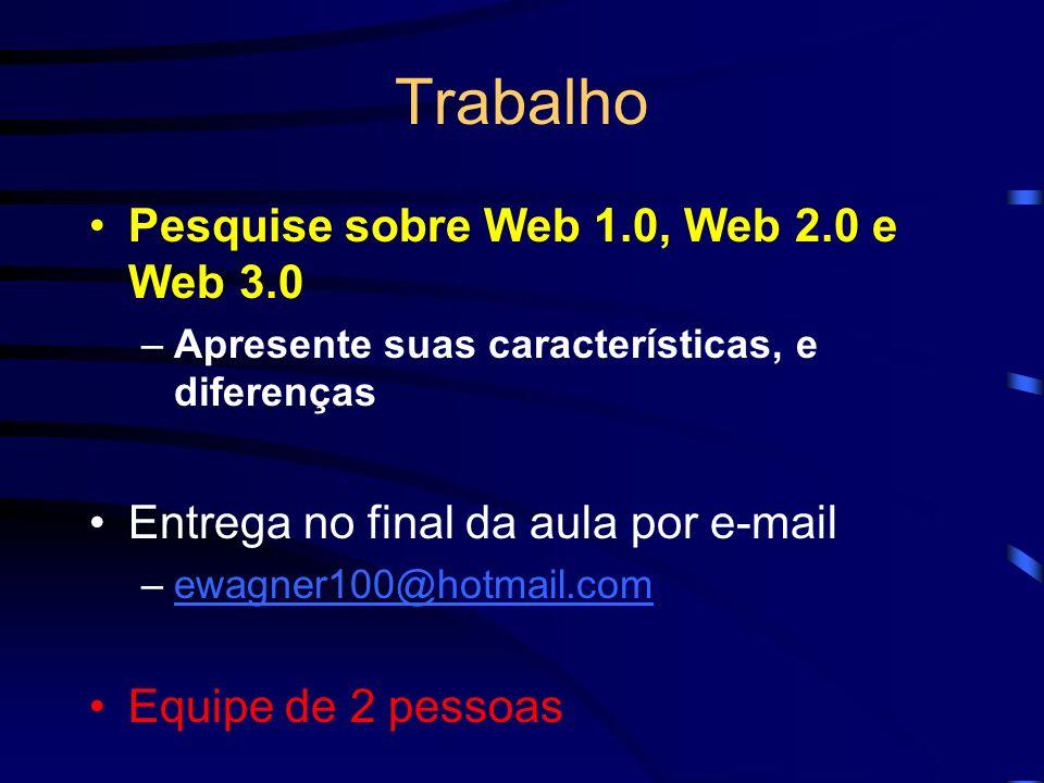 Trabalho Pesquise sobre Web 1.0, Web 2.0 e Web 3.0