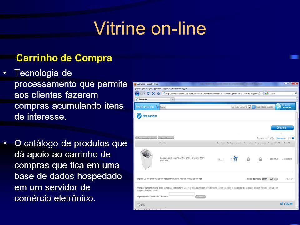 Vitrine on-line Carrinho de Compra