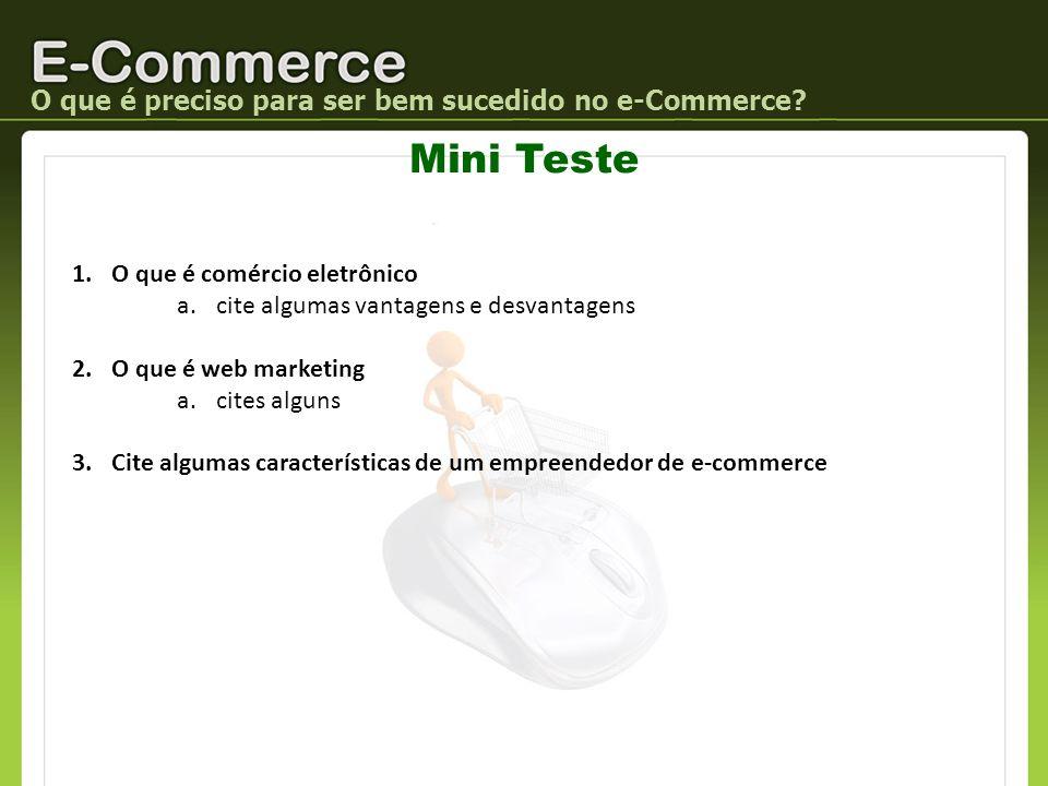 Mini Teste O que é preciso para ser bem sucedido no e-Commerce