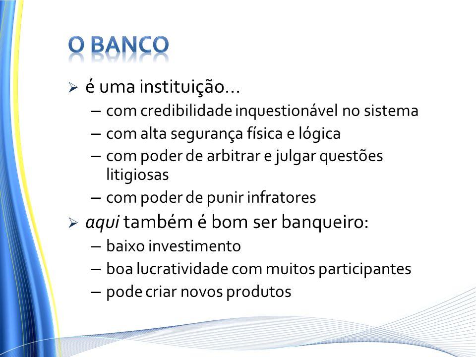 O Banco é uma instituição... aqui também é bom ser banqueiro:
