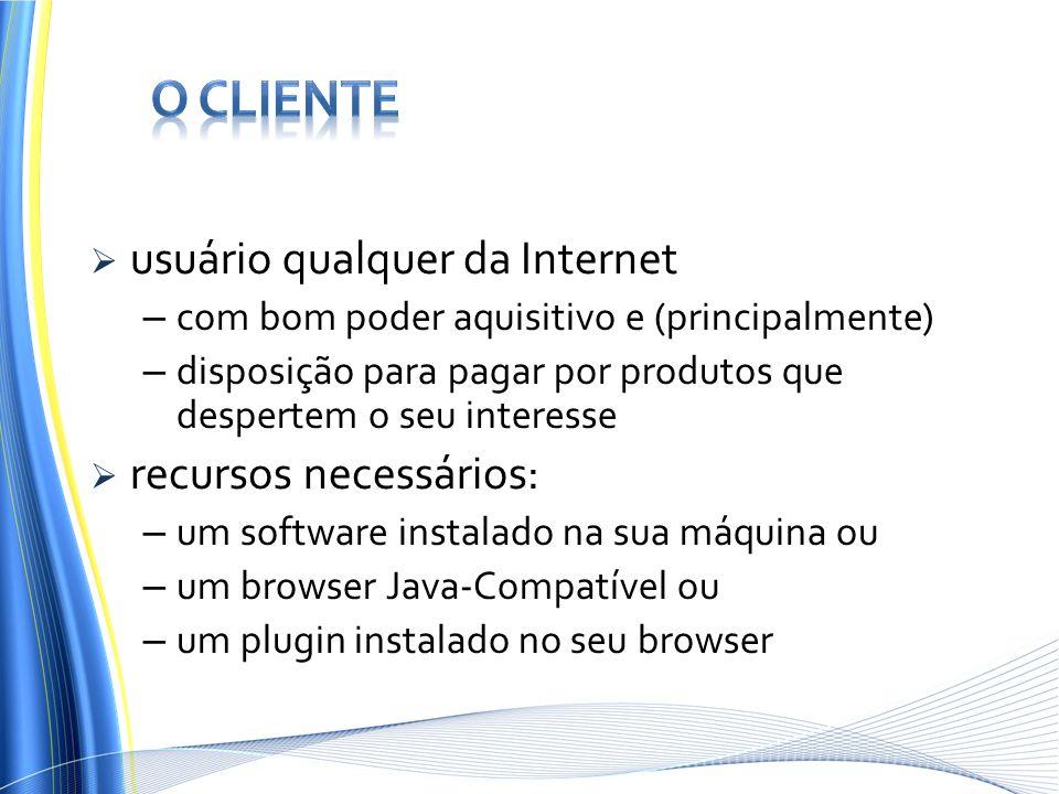 O Cliente usuário qualquer da Internet recursos necessários: