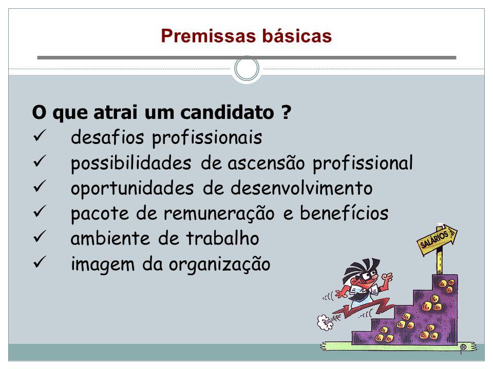 Premissas básicas O que atrai um candidato desafios profissionais. possibilidades de ascensão profissional.