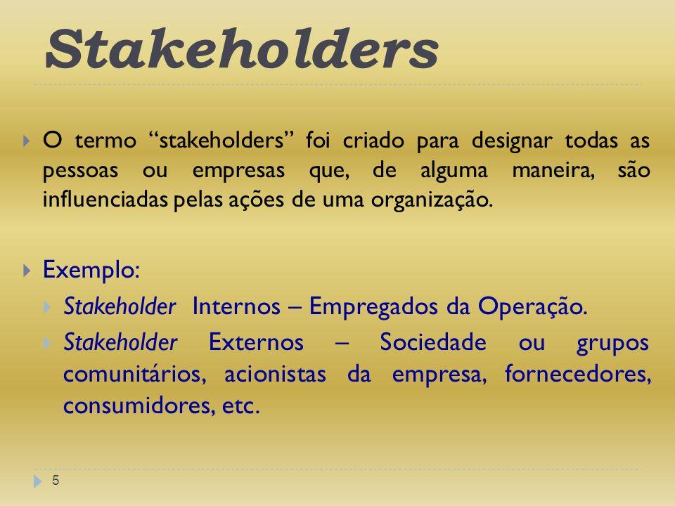 Stakeholders Exemplo: Stakeholder Internos – Empregados da Operação.