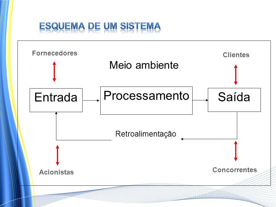 Processamento Entrada Saída Meio ambiente Esquema de um sistema