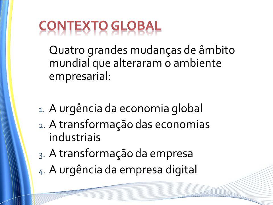 Contexto Global Quatro grandes mudanças de âmbito mundial que alteraram o ambiente empresarial: A urgência da economia global.