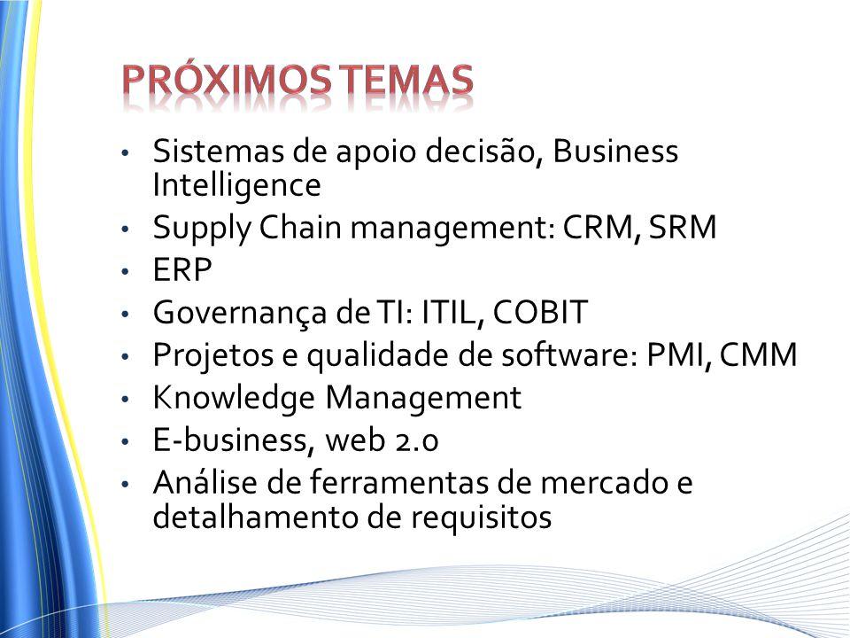 Próximos temas Sistemas de apoio decisão, Business Intelligence