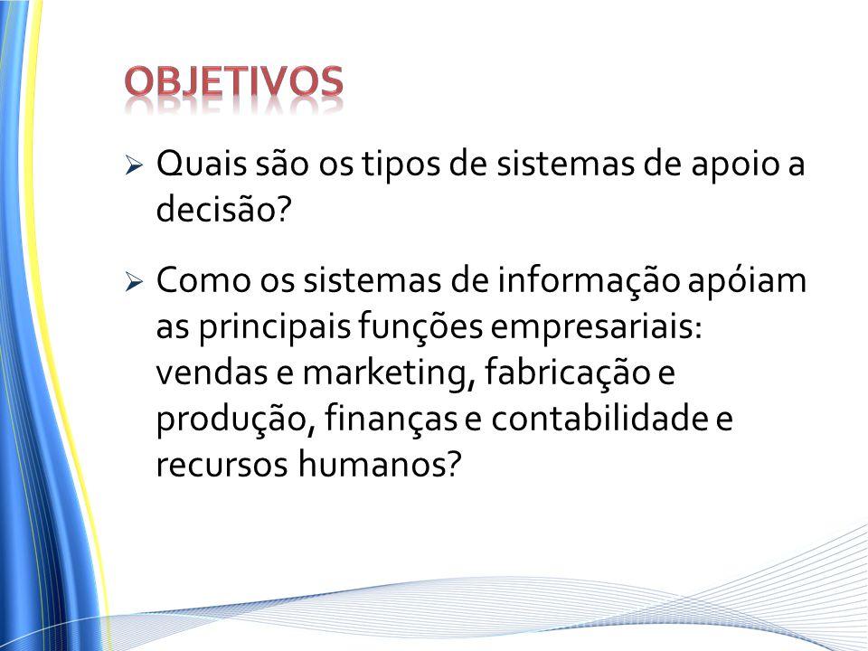 Objetivos Quais são os tipos de sistemas de apoio a decisão
