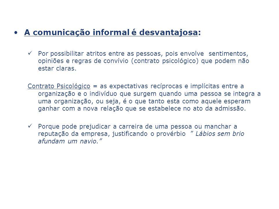 A comunicação informal é desvantajosa: