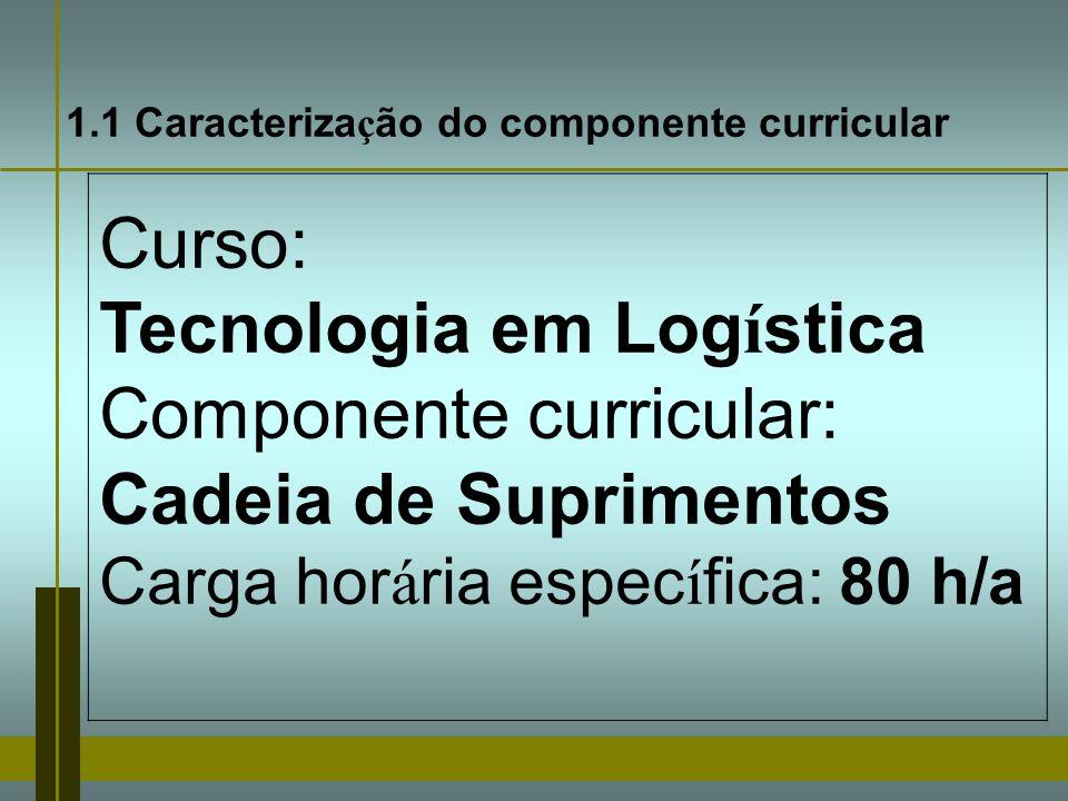 Tecnologia em Logística Componente curricular: Cadeia de Suprimentos