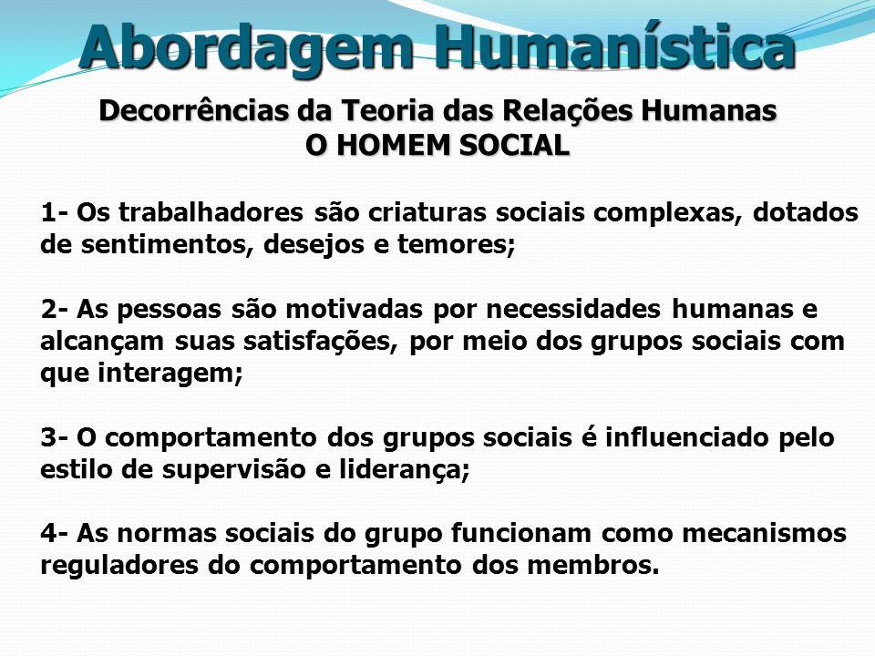 Abordagem Humanística Decorrências da Teoria das Relações Humanas