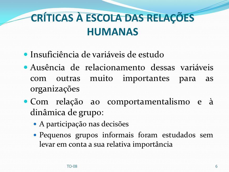 CRÍTICAS À ESCOLA DAS RELAÇÕES HUMANAS