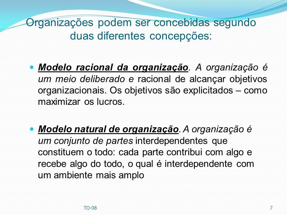 Organizações podem ser concebidas segundo duas diferentes concepções: