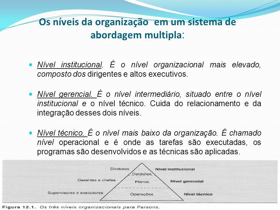 Os níveis da organização em um sistema de abordagem multipla: