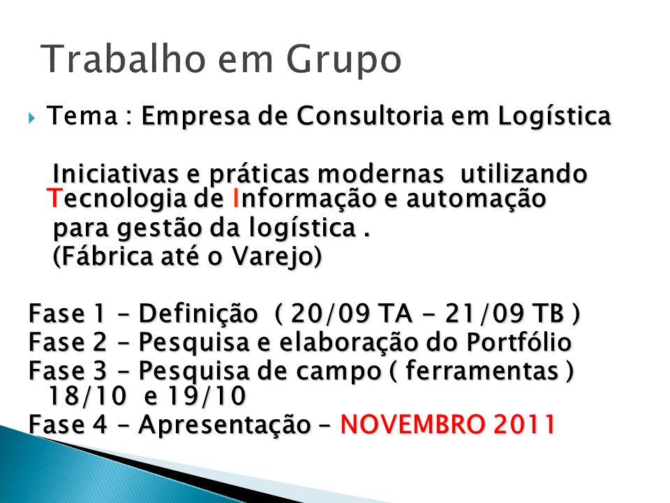 Trabalho em Grupo Tema : Empresa de Consultoria em Logística