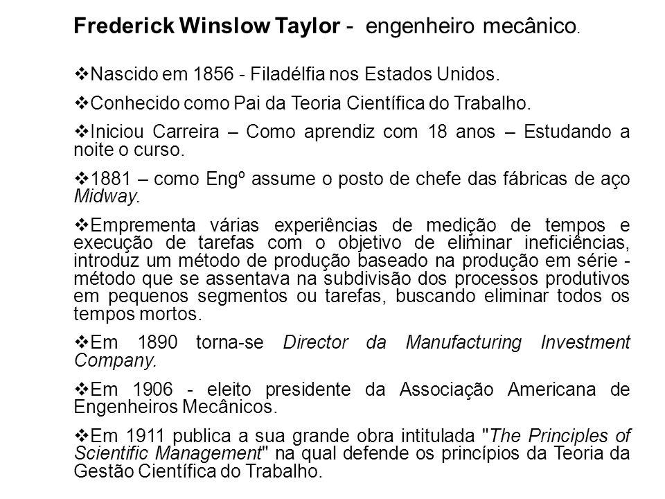 Frederick Winslow Taylor - engenheiro mecânico.