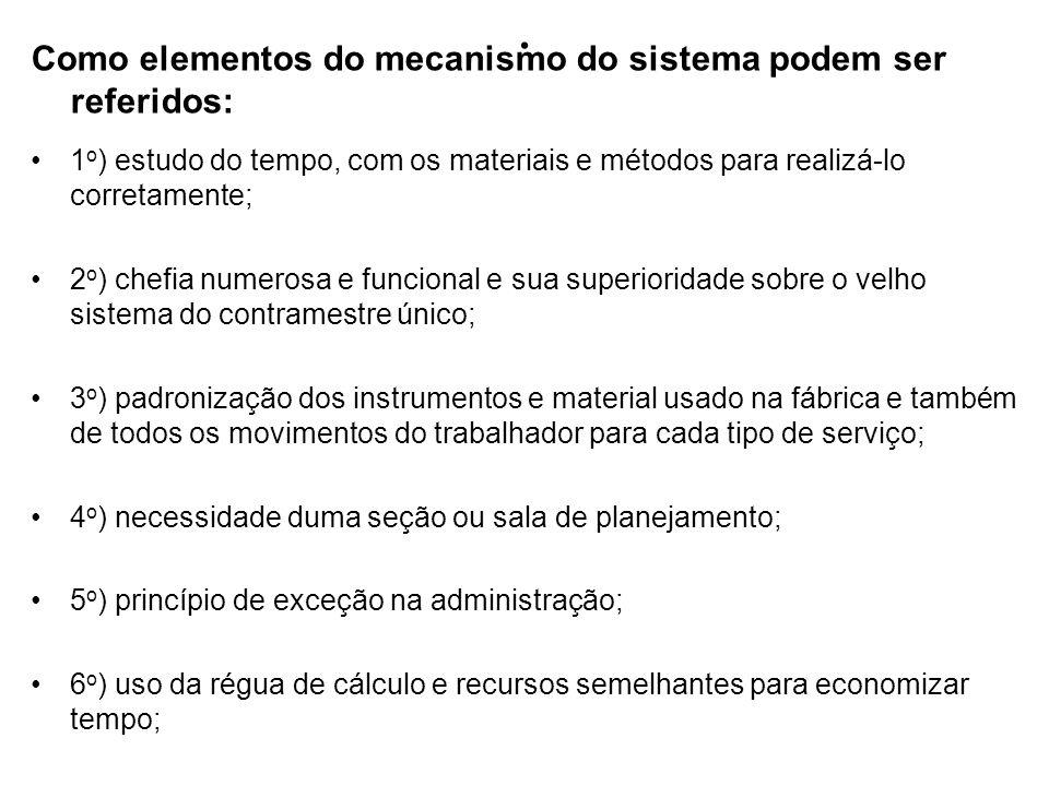 . Como elementos do mecanismo do sistema podem ser referidos: