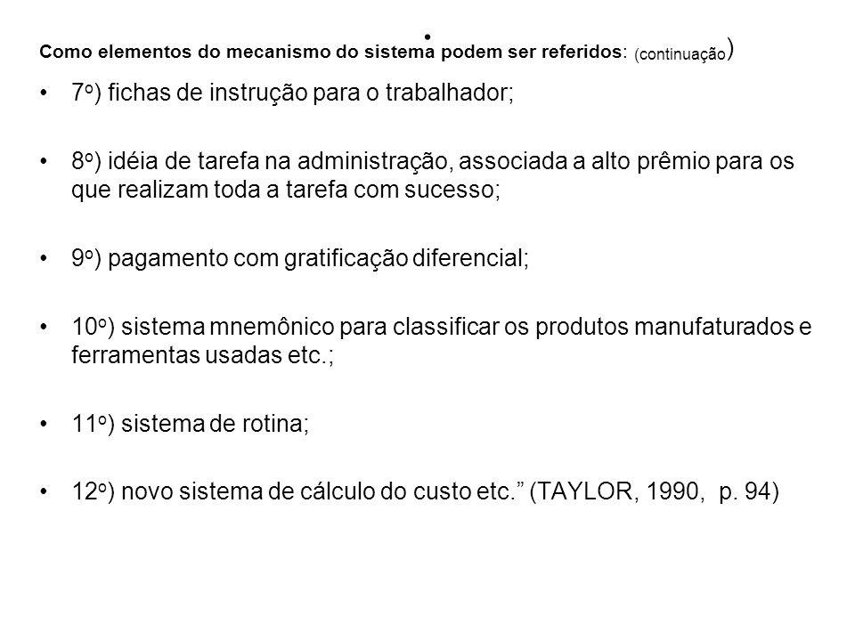 Como elementos do mecanismo do sistema podem ser referidos: (continuação)