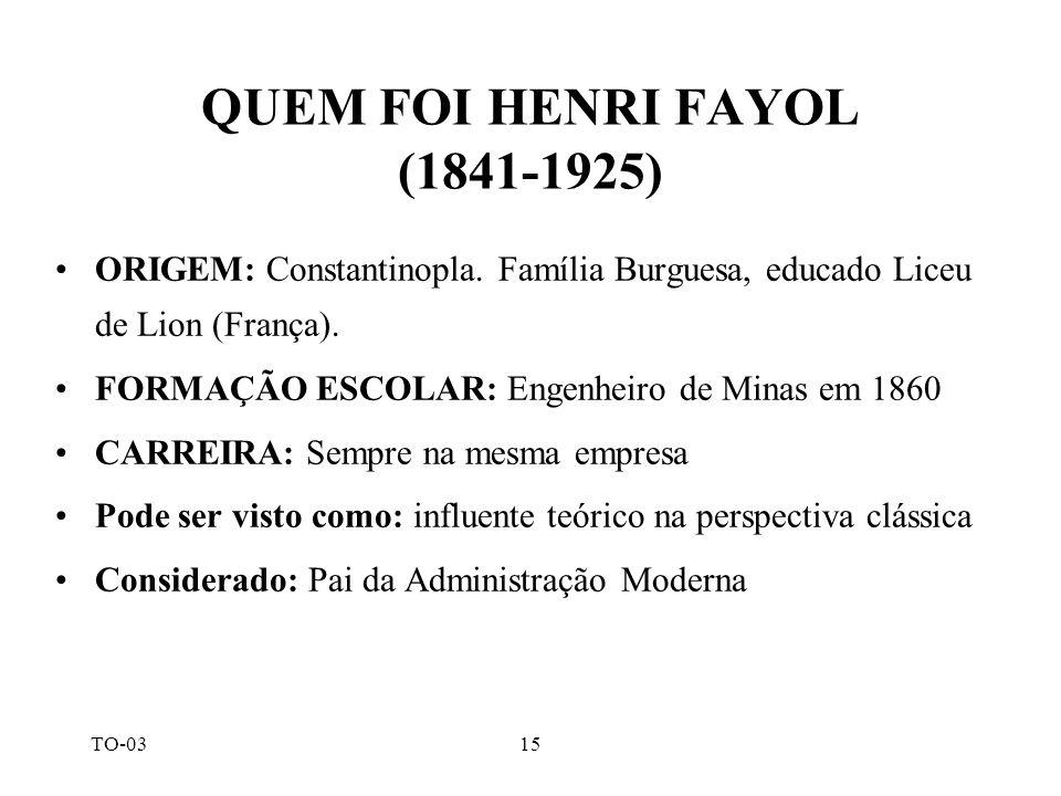 QUEM FOI HENRI FAYOL (1841-1925)