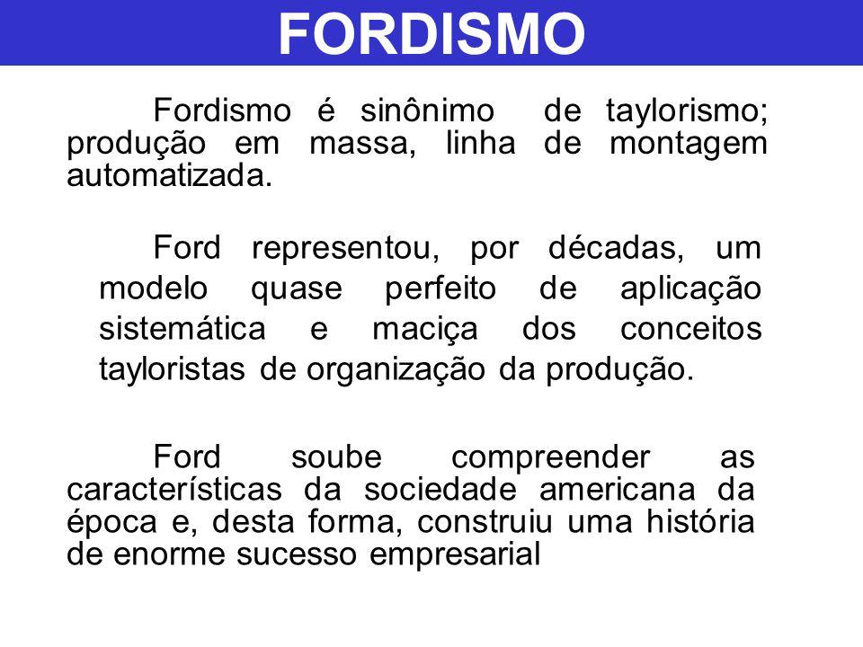 FORDISMO Fordismo é sinônimo de taylorismo; produção em massa, linha de montagem automatizada.