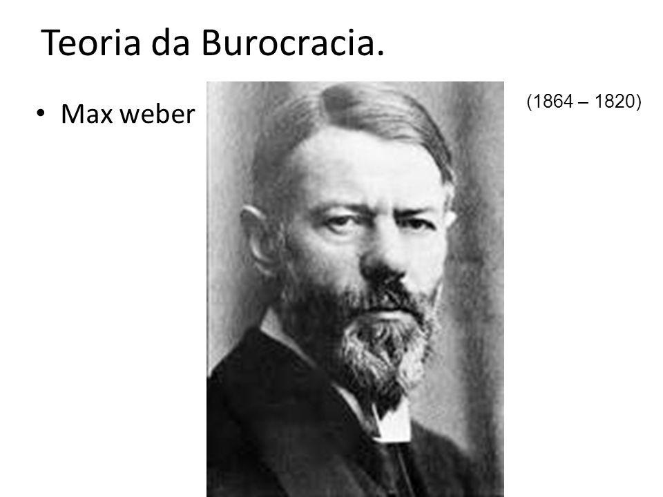 Teoria da Burocracia. (1864 – 1820) Max weber