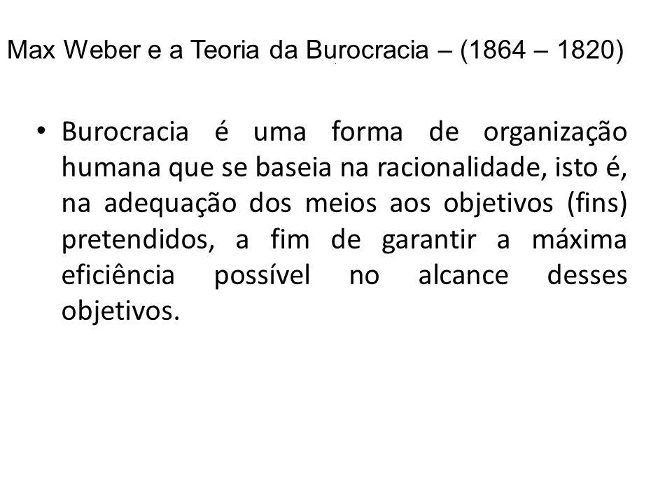 . Max Weber e a Teoria da Burocracia – (1864 – 1820)