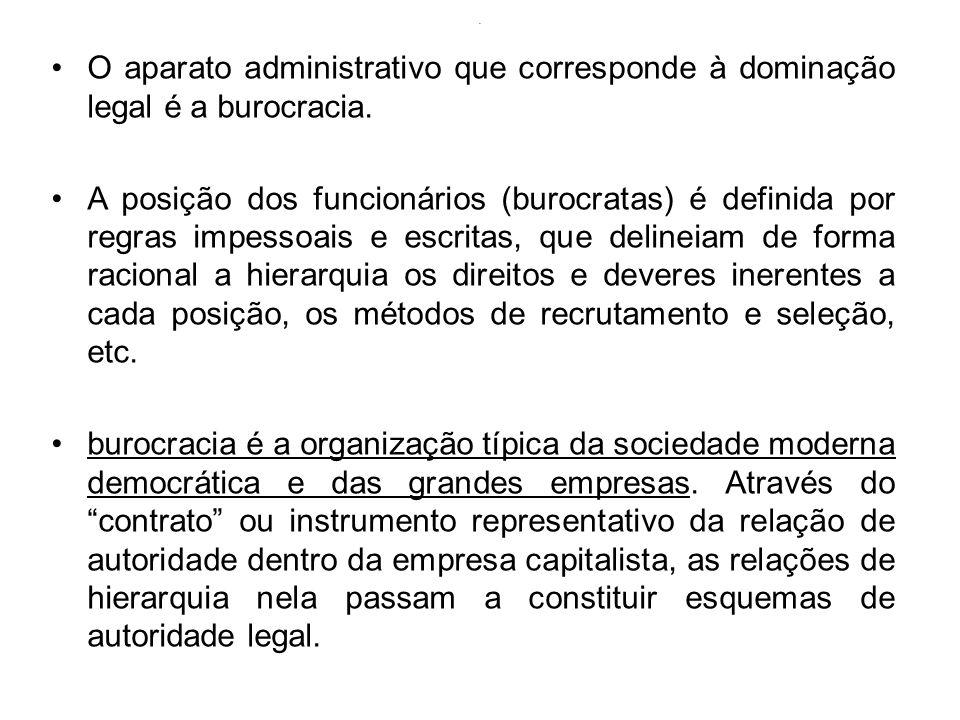 . O aparato administrativo que corresponde à dominação legal é a burocracia.