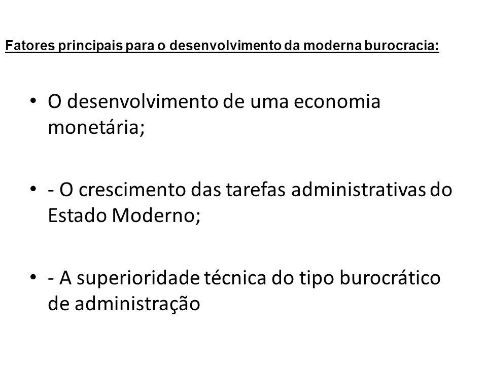 Fatores principais para o desenvolvimento da moderna burocracia:
