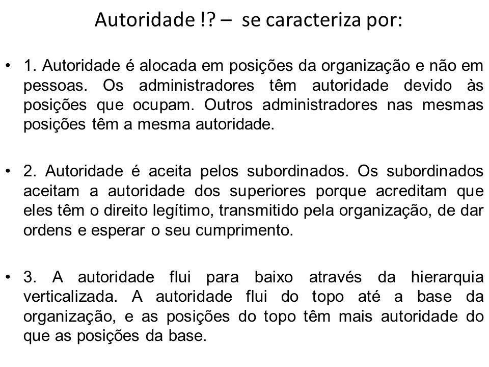 Autoridade ! – se caracteriza por: