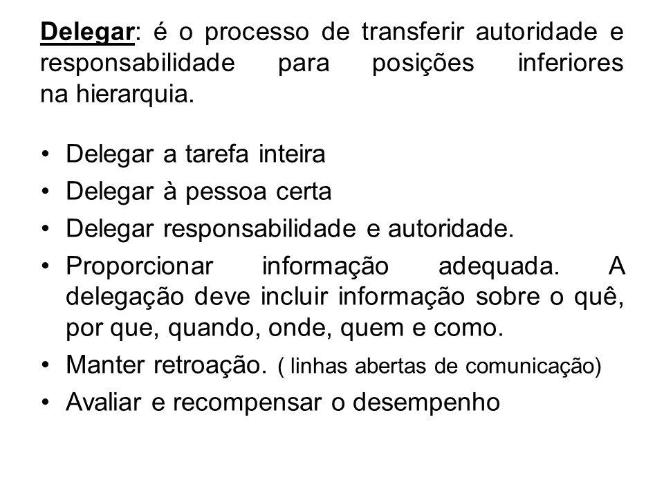Delegar: é o processo de transferir autoridade e responsabilidade para posições inferiores na hierarquia.