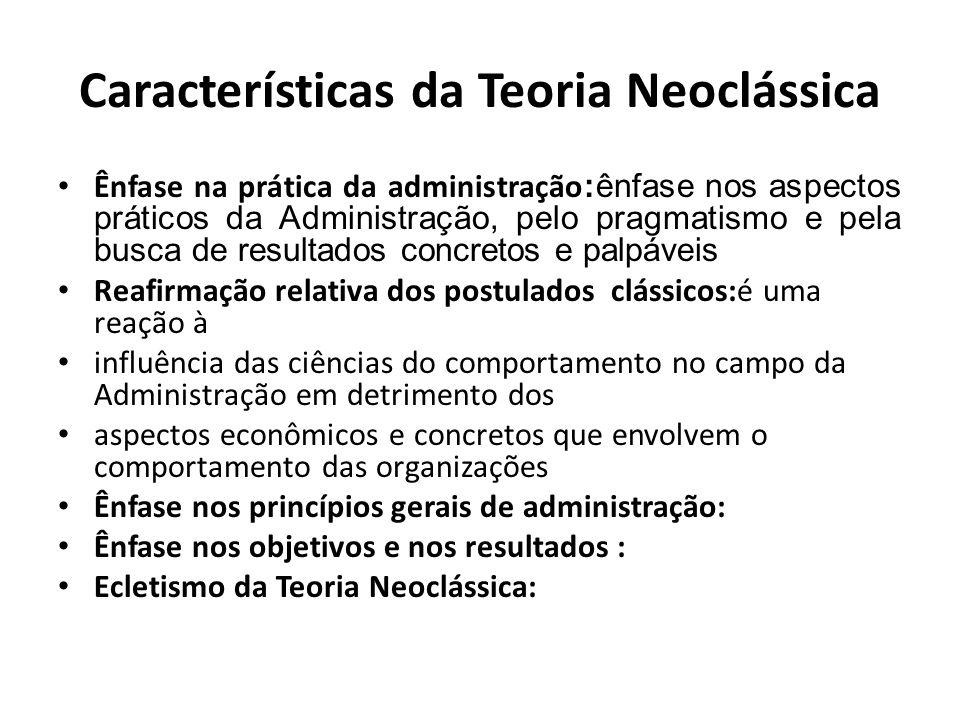 Características da Teoria Neoclássica