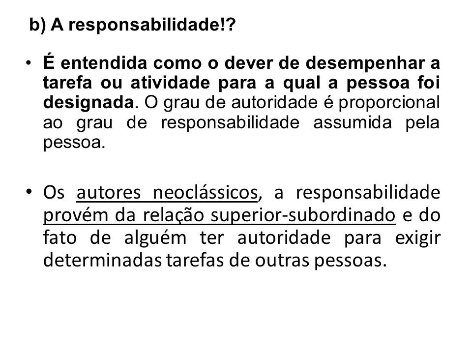b) A responsabilidade!