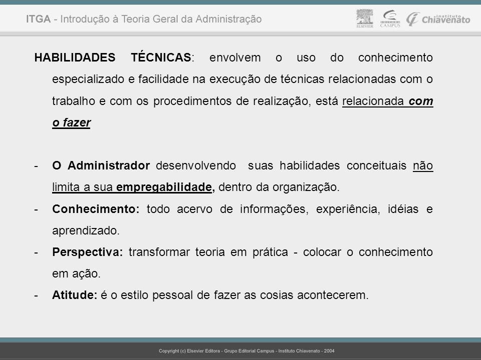 HABILIDADES TÉCNICAS: envolvem o uso do conhecimento especializado e facilidade na execução de técnicas relacionadas com o trabalho e com os procedimentos de realização, está relacionada com o fazer