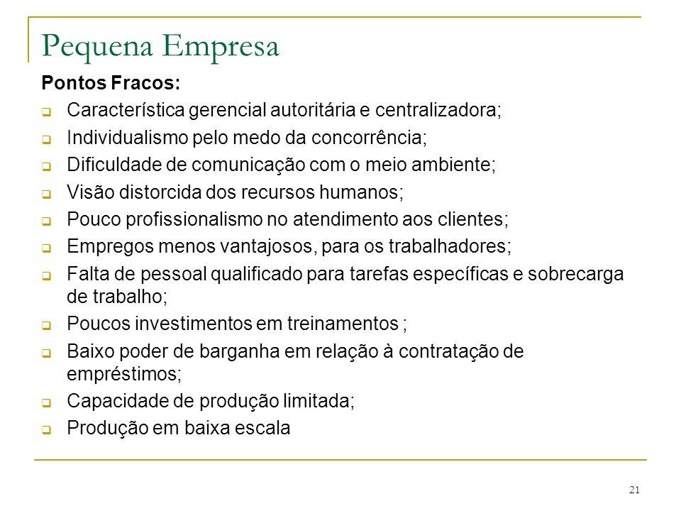 Pequena Empresa Pontos Fracos: