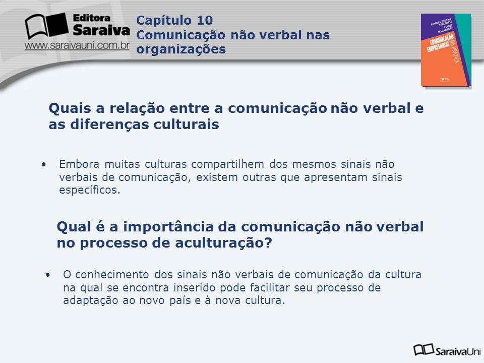 Capítulo 10 Comunicação não verbal nas organizações. Capa. da Obra. Quais a relação entre a comunicação não verbal e as diferenças culturais.