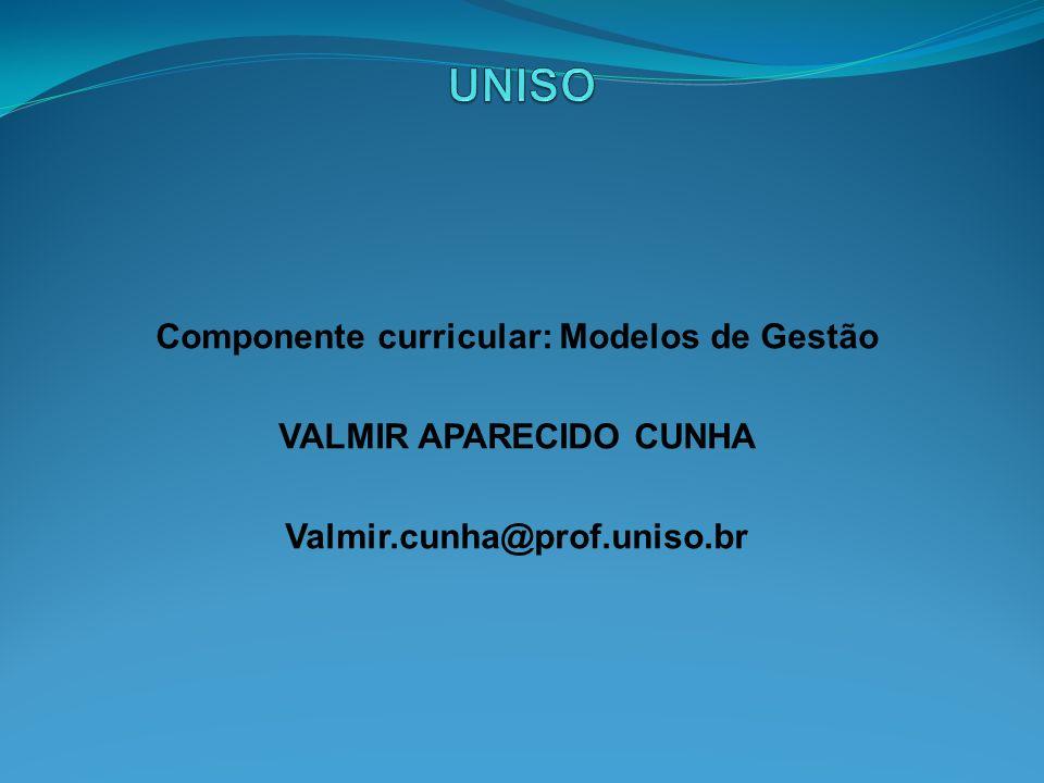 Componente curricular: Modelos de Gestão VALMIR APARECIDO CUNHA