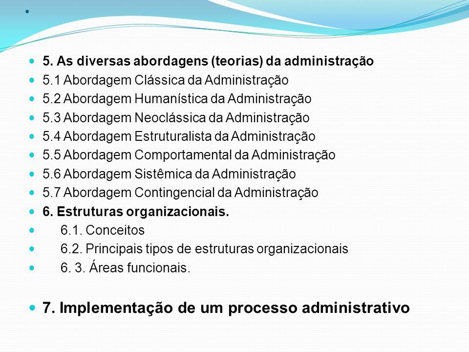 . 7. Implementação de um processo administrativo