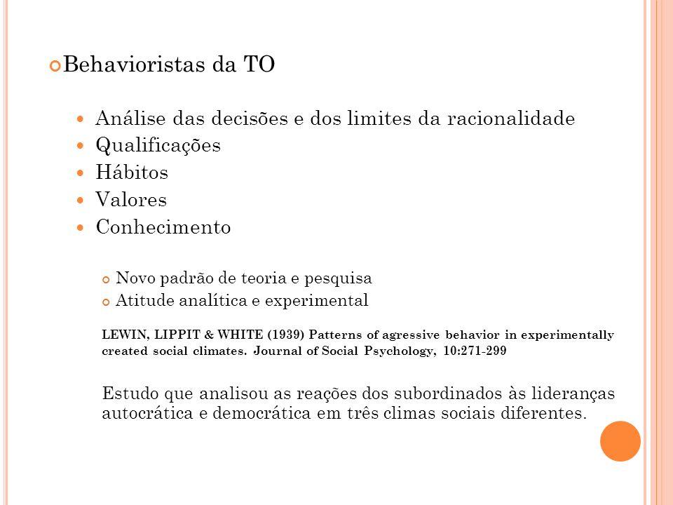 Behavioristas da TO Análise das decisões e dos limites da racionalidade. Qualificações. Hábitos. Valores.