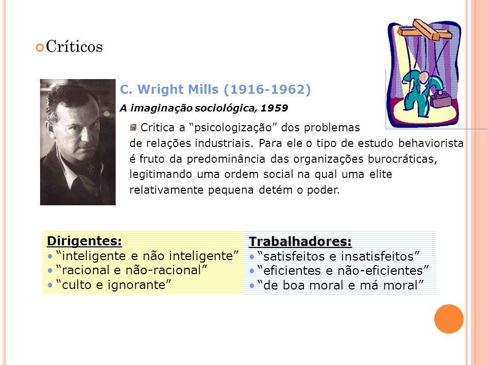 Críticos C. Wright Mills (1916-1962) Dirigentes:
